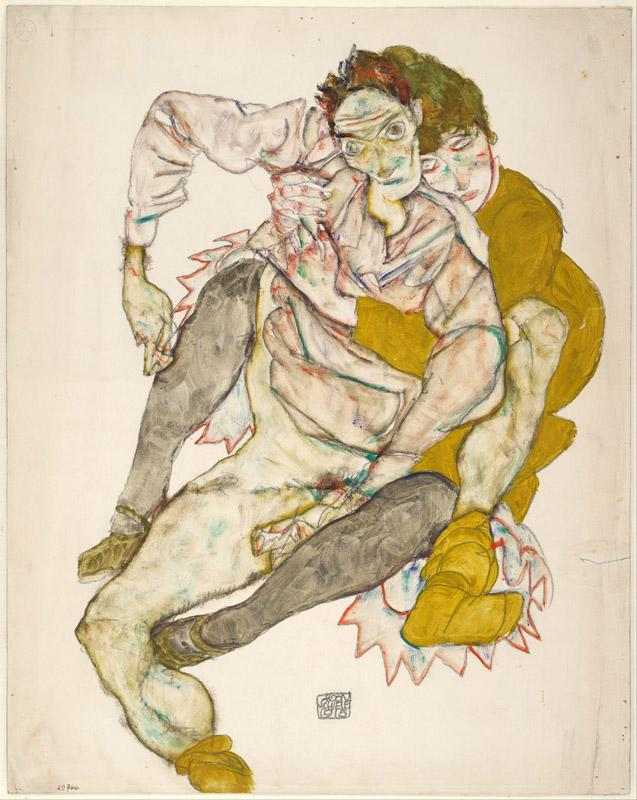 Egon Schiele (1890-1918)-Seated Couple, 1915