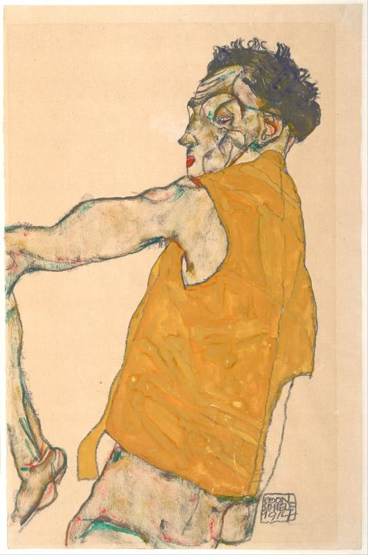 Egon Schiele (1890-1918)-Self-Portrait in Yellow Vest, 1914