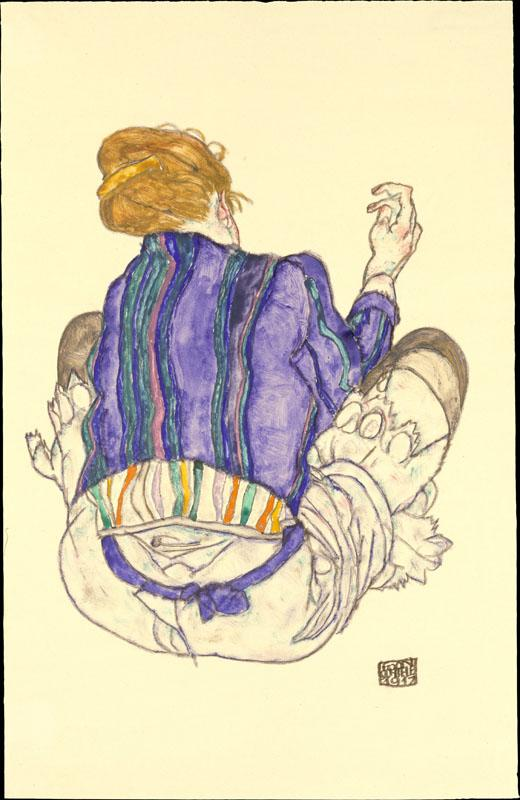 Egon Schiele--Seated Woman, Back View