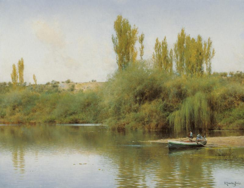 Emilio Sanchez-Perrier Bank of the Guadaira with Boat