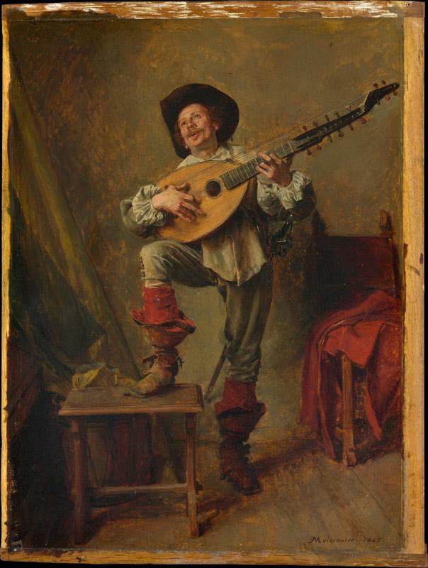 Ernest Meissonier--Soldier Playing the Theorbo