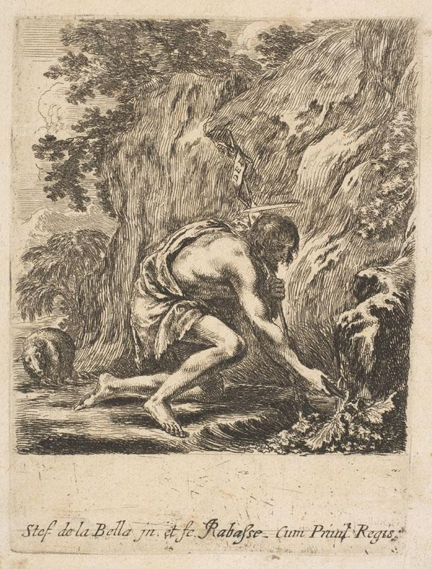 Etched by Stefano della Bella--St. John the Baptist Drawing Water from a Spring