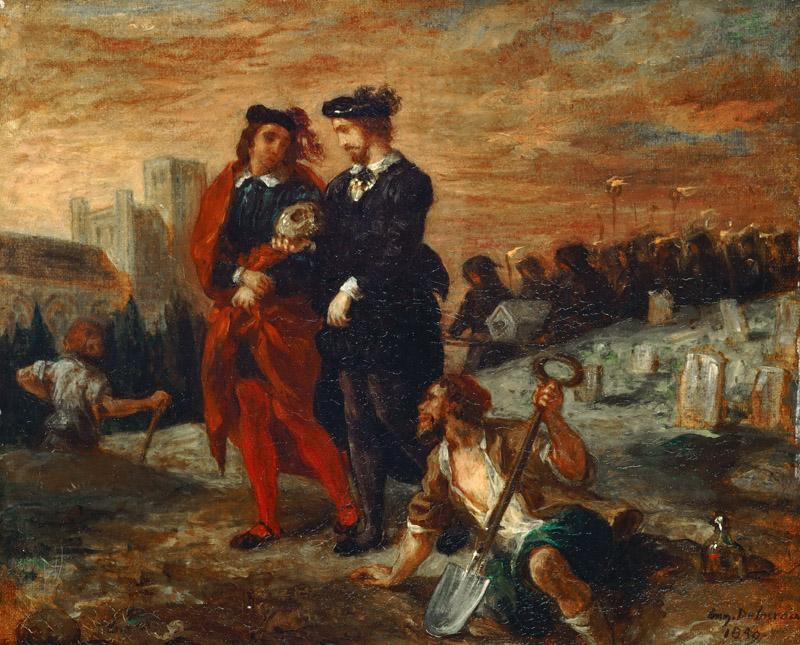 Eugene Delacroix -- Hamlet and Horatio at the cemetary
