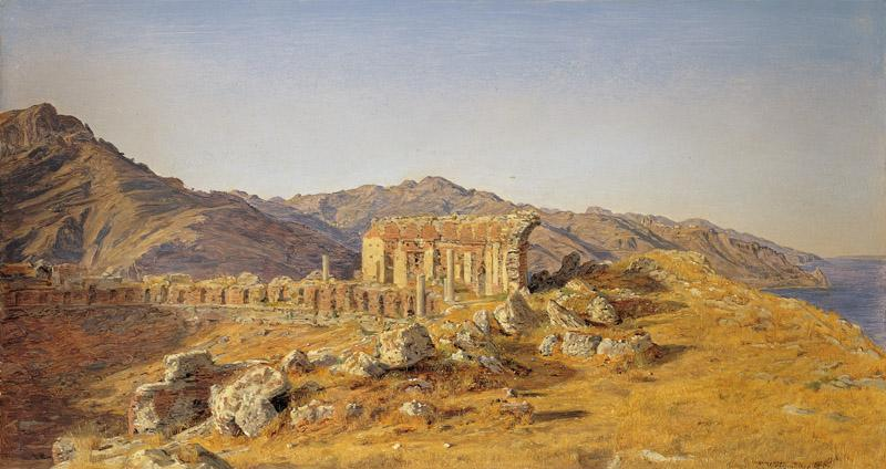 Ferdinand Georg Waldmuller - Ruines of the greek theater in Taormina towards the straits of Messi