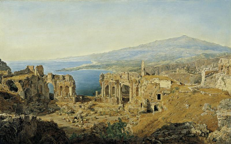 Ferdinand Georg Waldmuller - The Ruins of the Greek Theatre at Taormina on Sicily, 1844