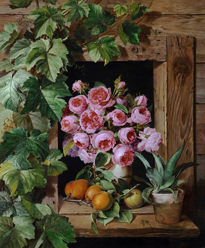 Ferdinand Kuss - Still Life with Roses and Apricots