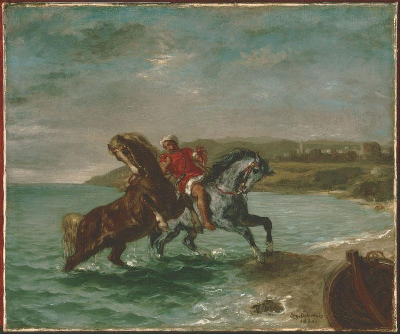 Ferdinand-Victor-Eugene Delacroix (1798 - 1863) (French)-Horses Coming Out of the Sea