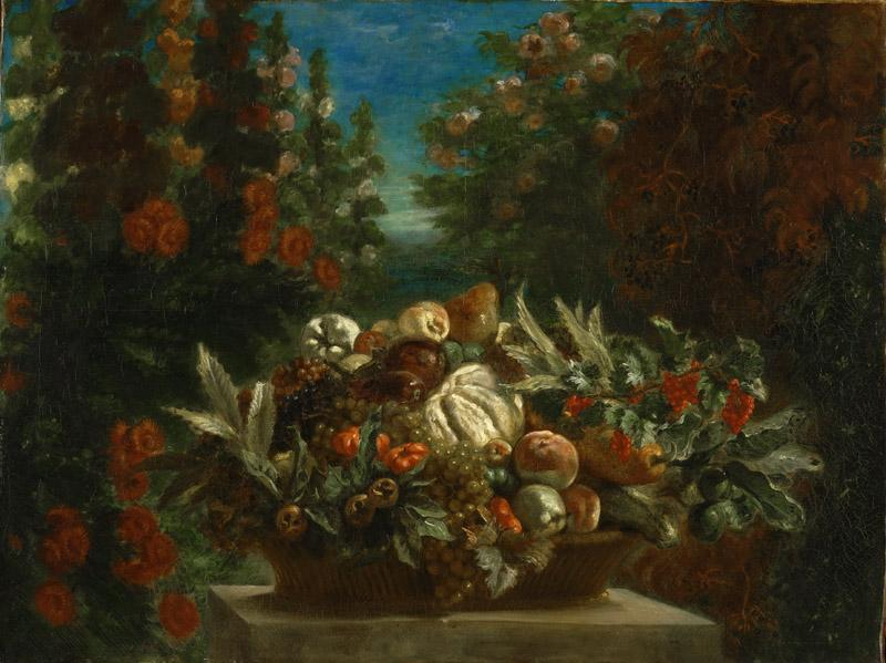 Ferdinand-Victor-Eugene Delacroix, French, 1798-1863 -- Still Life with Flowers and Fruit