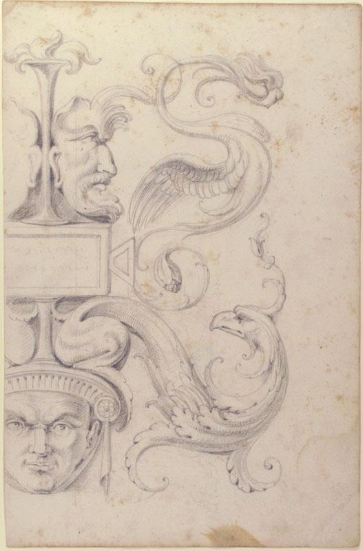 Filippo Cretoni--Drawing of a Grotesque after a 16th-century Decorative Relief2