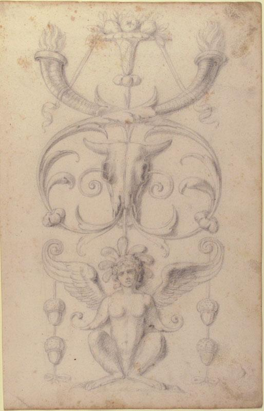 Filippo Cretoni--Drawing of a Grotesque after a 16th-century Decorative Relief3