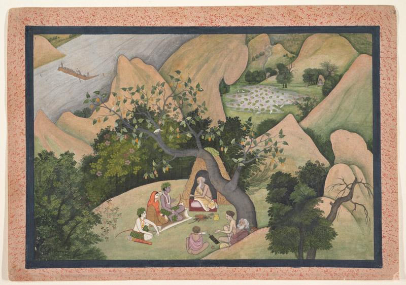First Generation after Nainsukh--Rama, Sita, and Lakshmana at the Hermitage of Bharadvaja Folio from a Ramayana Series