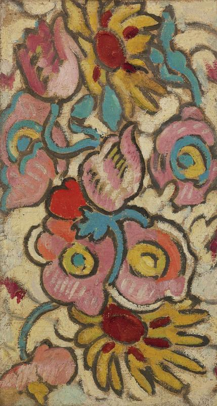 Flowers on Yellow Background, 1915