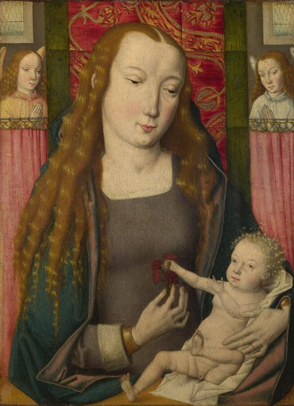 Follower of the Master of the Saint Ursula Legend (Bruges) - The Virgin and Child with Two Angels