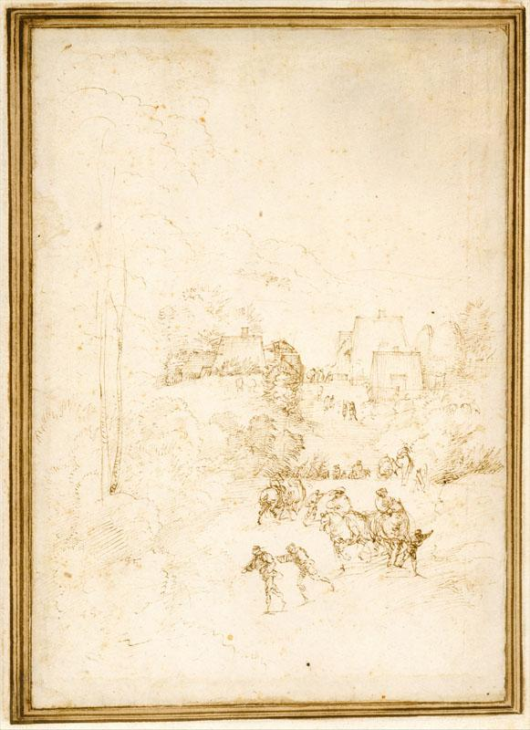 Fra Bartolomeo--Approach to a Mountain Village with Horsemen on the Road