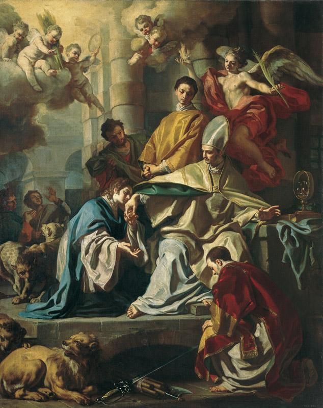 Francesco Solimena - St Januarius in a Dungeon Visited by SS Proculus and Sosius, 1729-31