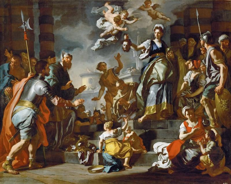 Francesco Solimena -- Judith shows the head of Holofernes to the people