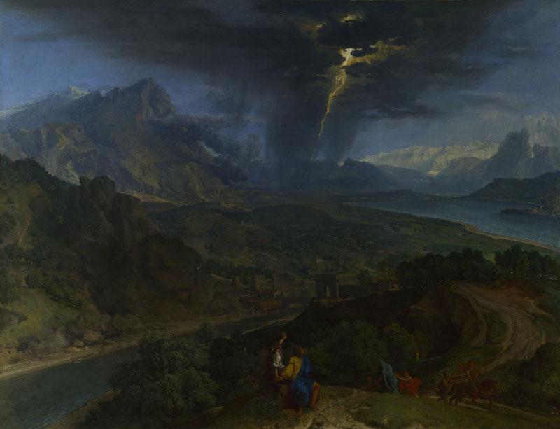Francisque Millet - Mountain Landscape with Lightning