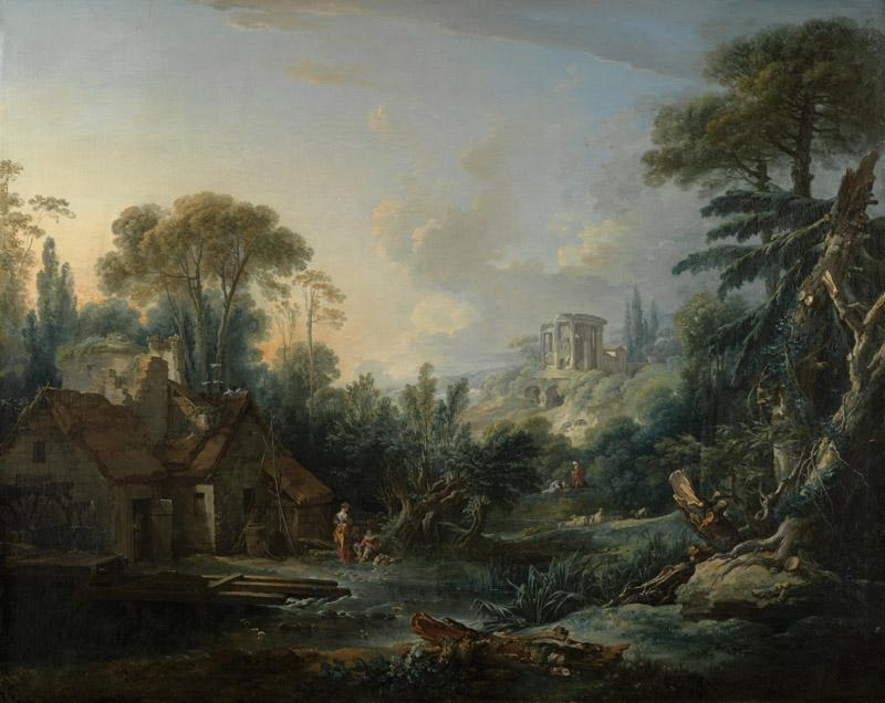 Francois Boucher - Landscape with a Water Mill, 1740