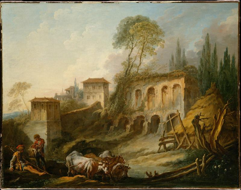 Francois Boucher--Imaginary Landscape with the Palatine Hill from Campo Vaccino