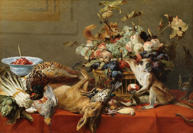 Frans Snyders - Still Life with Fruit, Dead Game, Vegetables, a Live Monkey, Squirrel and Cat
