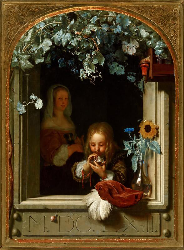 Frans van Mieris the Elder - A Boy Blowing Bubbles