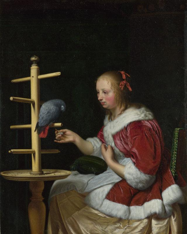 Frans van Mieris the Elder - A Woman in a Red Jacket feeding a Parrot