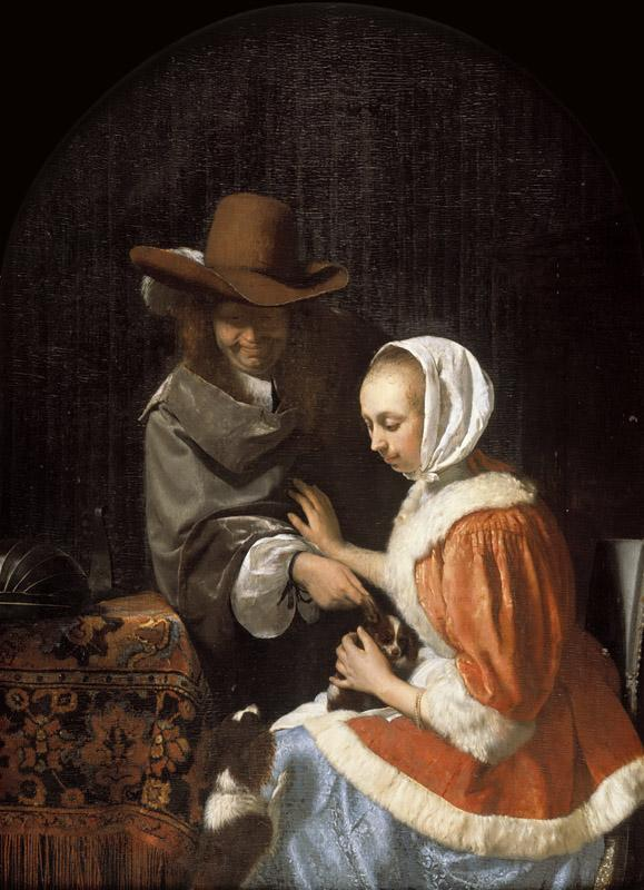 Frans van Mieris the Elder - Man and Woman with Two Dogs