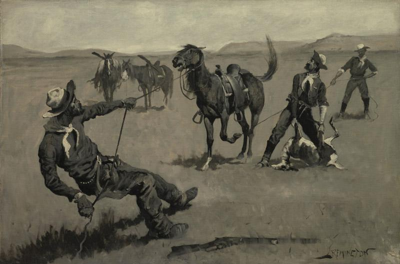 Frederic Remington - Teaching a Mustang Pony to Pack Dead Game, ca. 1890