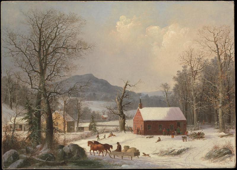 George Henry Durrie--Red School House (Country Scene)