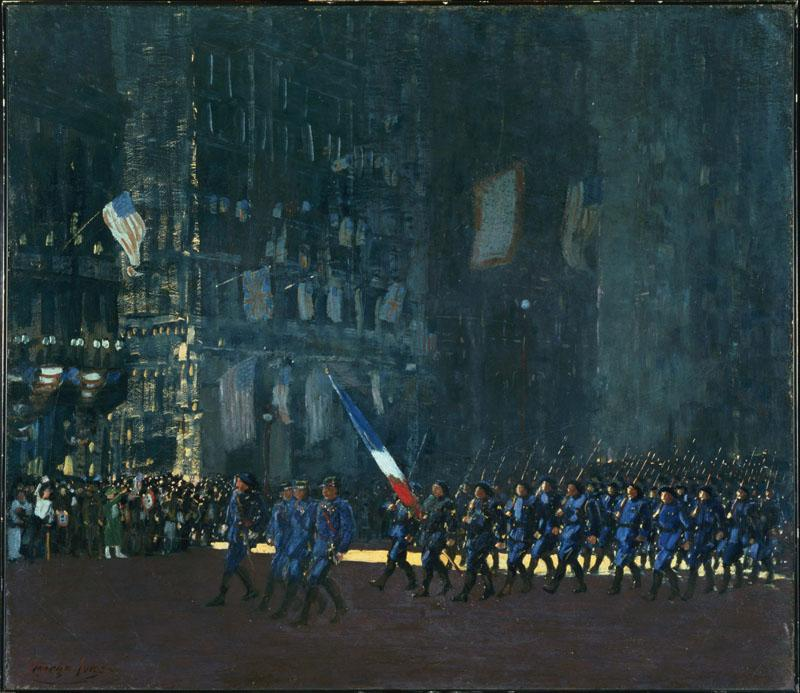 George Luks (1867-1933)-Blue Devils on Fifth Avenue