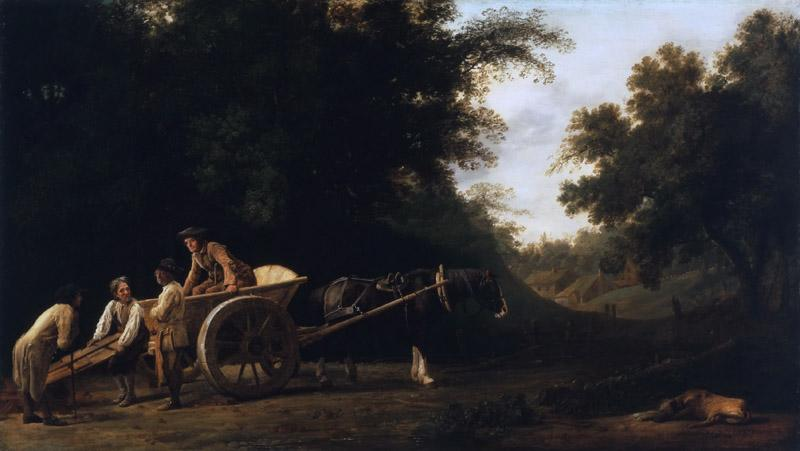 George Stubbs, English, 1724-1806 -- Laborers Loading a Brick Cart