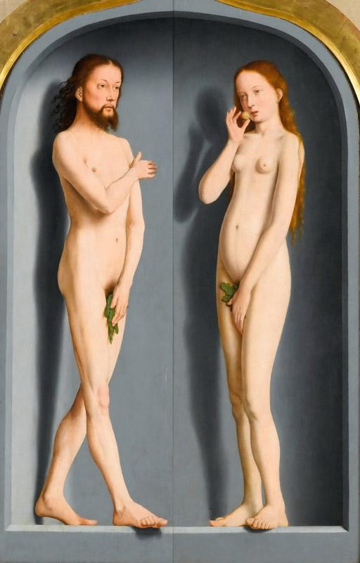 Gerard David -- Sedano Family Triptych, exterior panels- Adam and Eve