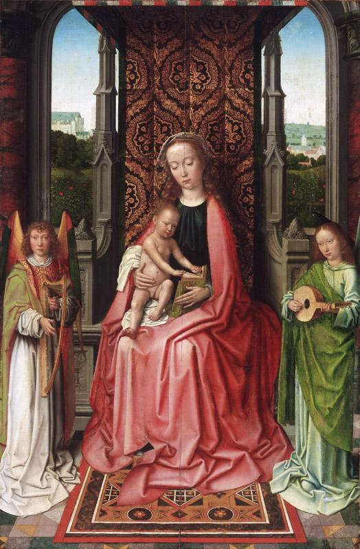 Gerard David, Netherlandish (active Bruges), first documented 1484, died 1523 -- Enthroned Virgin and Child, with Angels