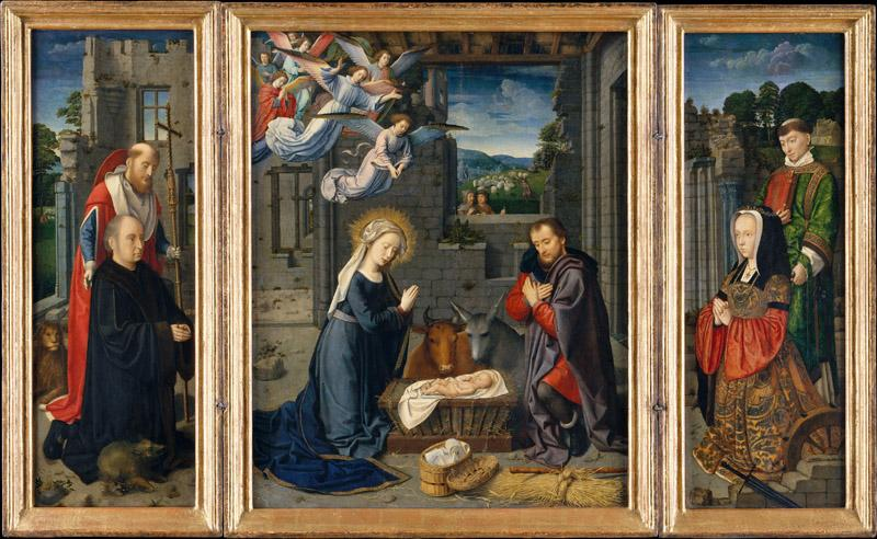 Gerard David--The Nativity with Donors and Saints Jerome and Leonard