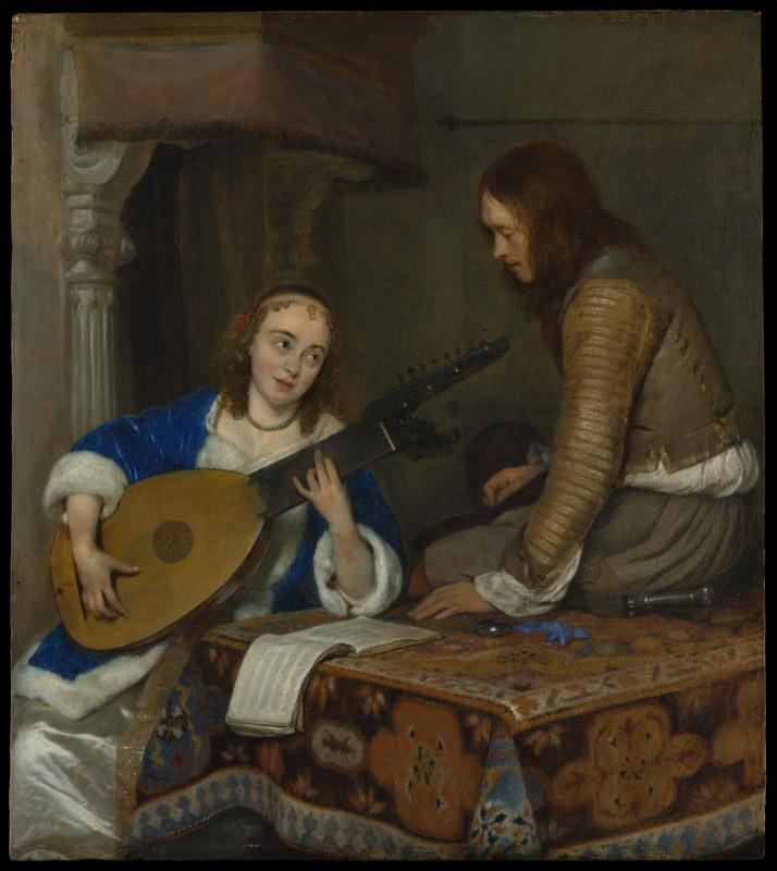 Gerard ter Borch--A Woman Playing the Theorbo-Lute and a Cavalier