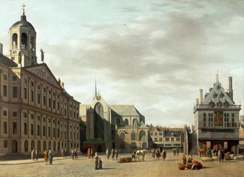 Gerrit Adriaensz. Berckheyde (1638-1698) -- Dam Street and the New City Hall of Amsterdam