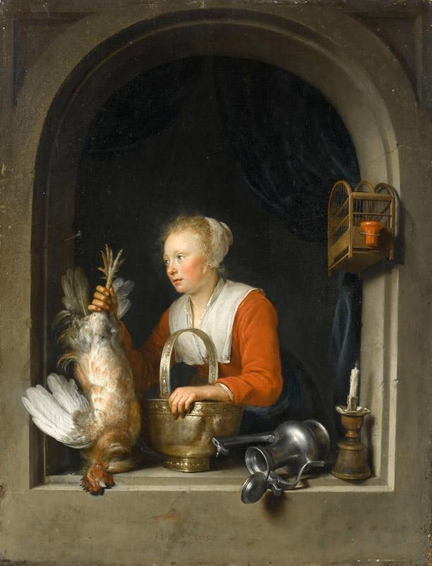 Gerrit Dou -- Woman hanging a rooster at her window