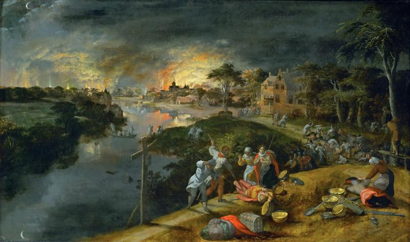 Gillis Mostaert -- A scene of war and fire