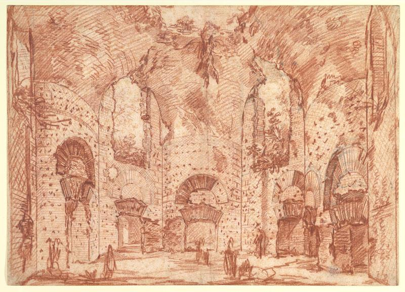 Giovanni Battista Piranesi--The Octagonal Room in the Small Baths at the Villa