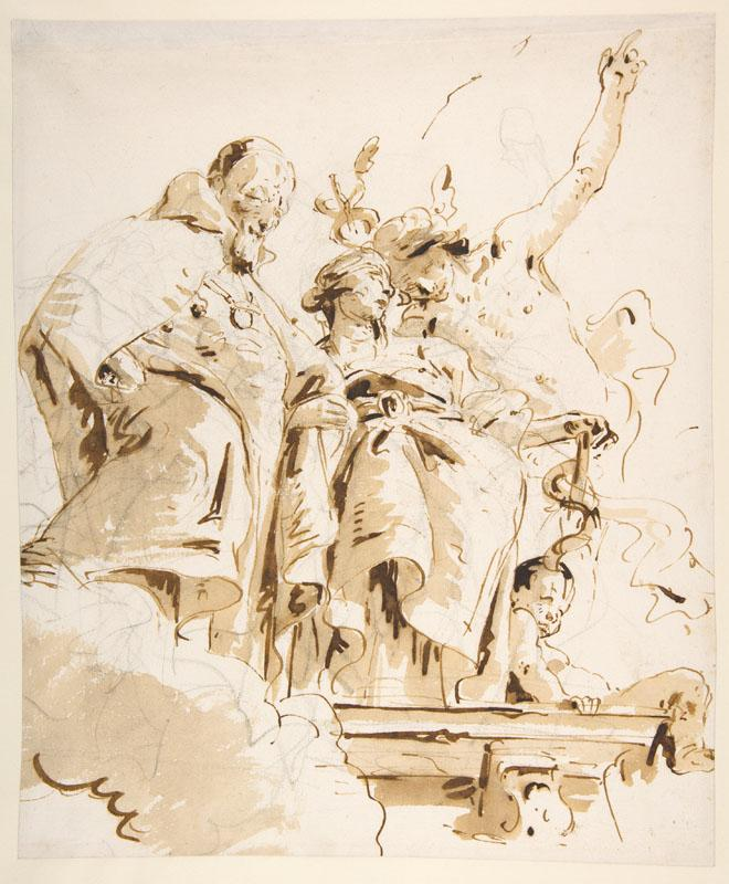 Giovanni Battista Tiepolo--Aged Dignitary Attended by Mercury and Prudence