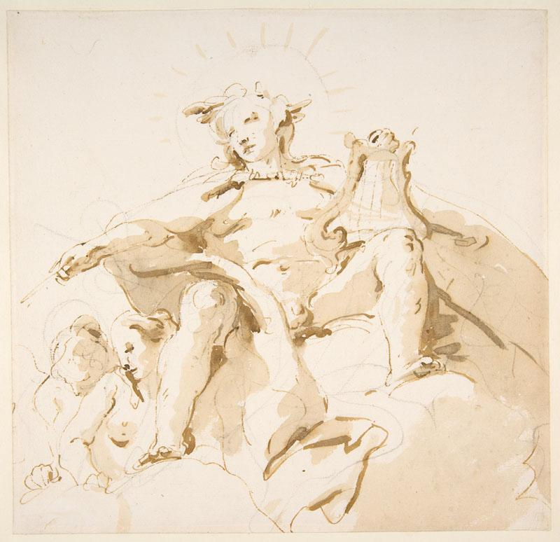 Giovanni Battista Tiepolo--Apollo Seated on Clouds, Two Figures at Left