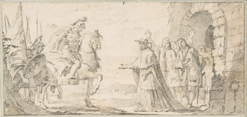 Giovanni Battista Tiepolo--Illustration for a Book Cardinal Receiving a General