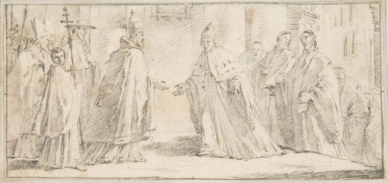 Giovanni Battista Tiepolo--Illustration for a Book Meeting Between a Pope and Doge