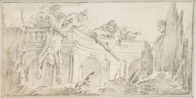 Giovanni Battista Tiepolo--Illustration for a Book Scene of Men Disposing