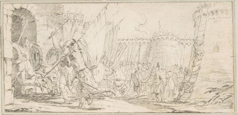 Giovanni Battista Tiepolo--Illustration for a Book Soldiers Storming a City2