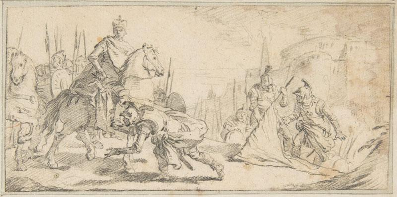 Giovanni Battista Tiepolo--Illustration for a Book Soldiers Surrendering to an Emperor
