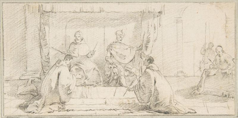 Giovanni Battista Tiepolo--Illustration for a Book Two Monks Kneeling