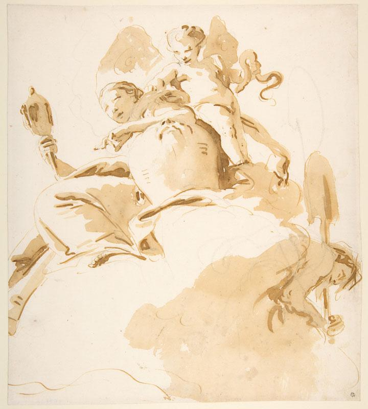 Giovanni Battista Tiepolo--Seated Woman with a Winged Putto