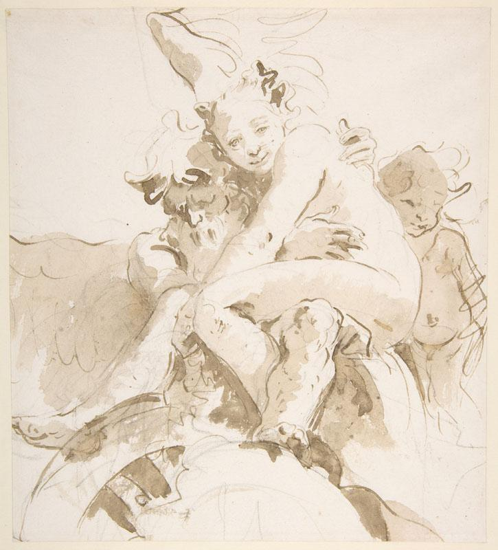 Giovanni Battista Tiepolo--Time Holding a Nude Woman