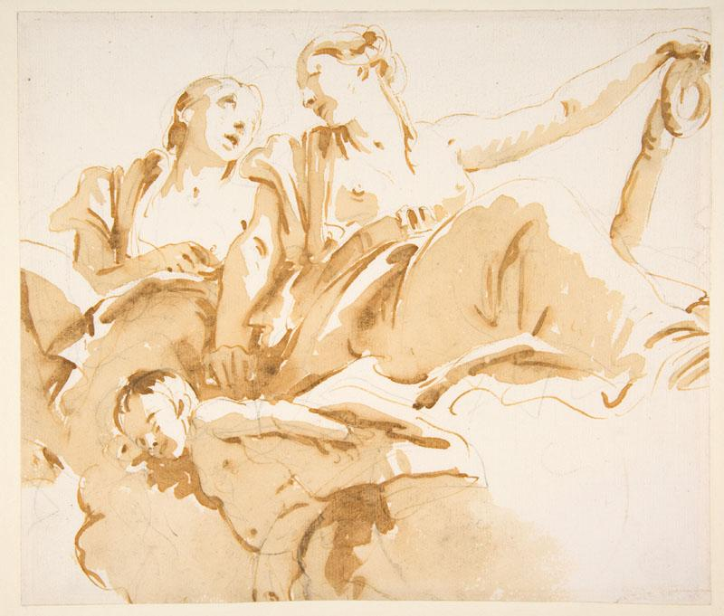 Giovanni Battista Tiepolo--Two Women, One Holding an Anchor